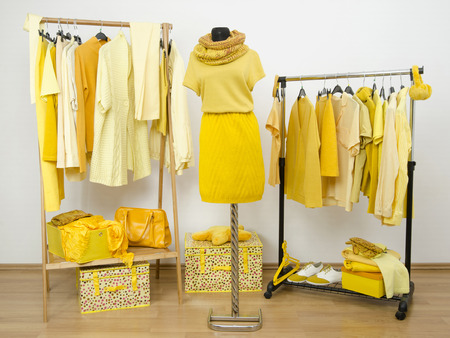 woman closet: Wardrobe full of all shades of yellow clothes, shoes and accessories.