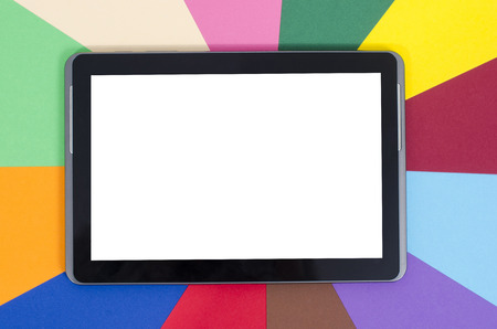 blank tablet: Blank tablet on color background.  Blank tablet on color background. Stock Photo