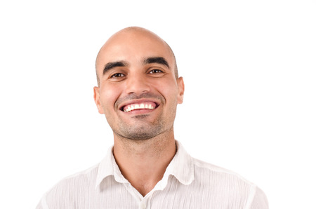 un healthy: Portrait of a bold man smiling. Caucasian bald man laughing. Isolated on white background.