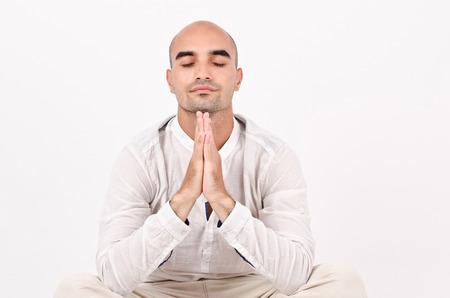 un healthy: Spiritual man praying and meditating
