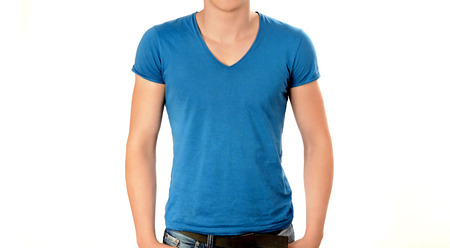 Unrecognizable man wearing blank blue v neck t-shirt. Man torso isolated on white background. Stock Photo