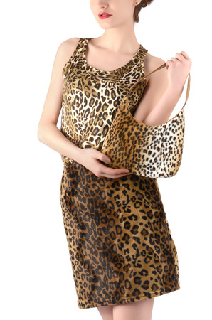 animal sexy: Unrecognizable woman dressed in animal print skirt and blouse, holding a bag. Jungle animal print fashion style. Stock Photo