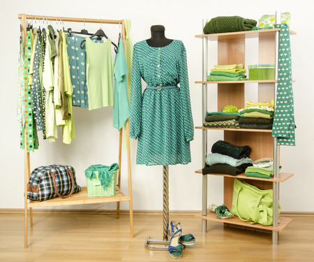 green clothes: Wardrobe full of all shades of green clothes and accessories.