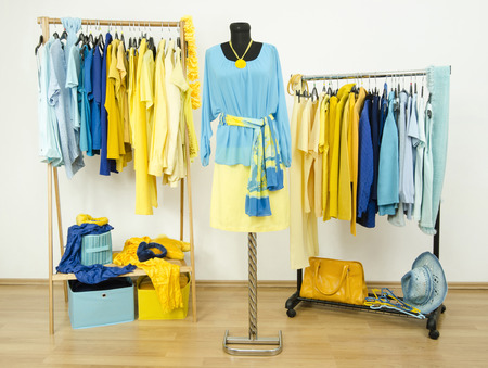 Wardrobe with yellow and blue clothes arranged on hangers and an outfit on a mannequin. Dressing closet with color coordinated clothes and accessories.