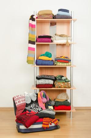 armario con ropa muy bien dispuestas y un equipaje completo vestir armario con ropa de invierno de colores y accesorios en una estantera
