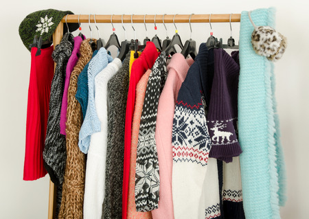 Superbe Close Up On Wardrobe With Winter Clothes Nicely Arranged. Dressing.. Stock  Photo, Picture And Royalty Free Image. Image 44216555.