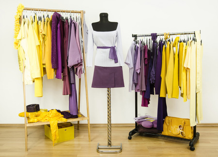 complementary: Dressing closet with complementary colors violet and yellow clothes.Wardrobe with purple and yellow clothes arranged on hangers and an outfit on a mannequin.