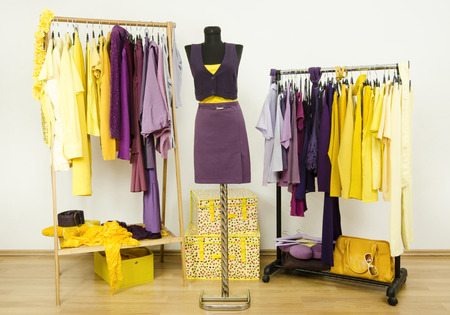 complementary: Dressing closet with complementary colors violet and yellow clothes. Wardrobe with purple and yellow clothes arranged on hangers and an outfit on a mannequin. Stock Photo