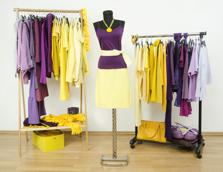 complementary: Dressing closet with complementary colors purple and yellow clothes arranged on hangers and an outfit on a mannequin. Wardrobe with violet and yellow clothes and accessories.