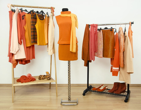 Wardrobe with orange clothes arranged on hangers and an outfit on a mannequin. Dressing closet full of all shades of orange clothes, shoes and accessories.