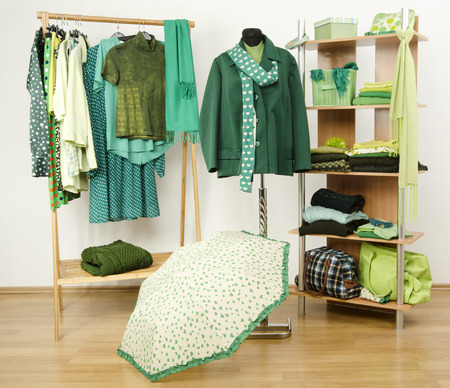 green clothes: Dressing closet with green clothes arranged on hangers and shelf, autumn outfit on a mannequin. Wardrobe full of all shades of green clothes and accessories. Stock Photo