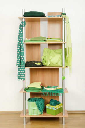 green clothes: Green clothes nicely arranged on a shelf. Tidy wardrobe with color coordinated clothes and accessories.