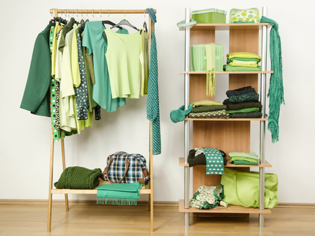 green clothes: Dressing closet with green clothes arranged on hangers and shelf. Wardrobe full of all shades of green clothes and accessories.