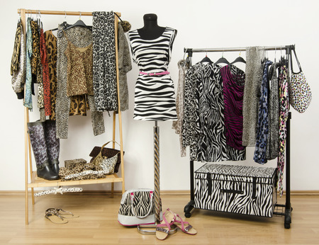 Dressing closet with animal print clothes arranged on hangers and a zebra print outfit on a mannequin. Colorful wardrobe with jungle pattern clothes and accessories.