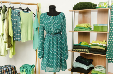 Dressing closet with green clothes arranged on hangers and shelf, dress on a mannequin. Wardrobe full of all shades of green clothes and accessories.