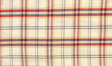 red plaid: Red and blue with white plaid print as background. Scottish tartan pattern. Symmetric square pattern. Stock Photo