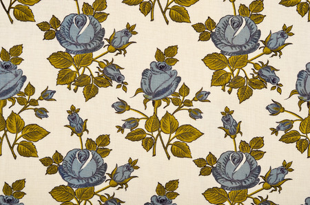 retro colors: Floral pattern on white fabric. Big blue rose flowers print as background. Stock Photo