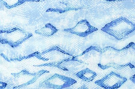 serpiente cobra: Patr�n de piel de serpiente en la tela. Cierre en azul impresi�n de la piel de serpiente para el fondo. Foto de archivo
