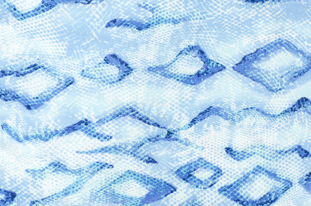 mottled skin: Snake skin pattern on fabric. Close up on blue snake skin print for background.