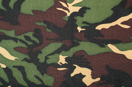 camo: Camouflage pattern on fabric. Brown khaki black military print as background