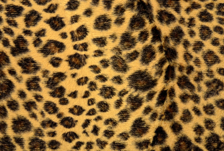 spotted fur: Brown leopard fur pattern. Spotted animal print as background. Stock Photo