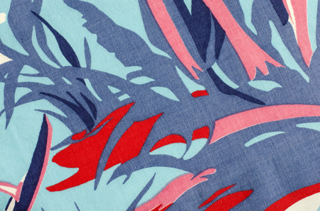 asymmetric: Abstract blue and red pattern on fabric. Asymmetric lines and shapes print as background.