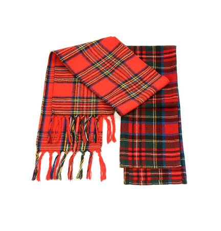 neckcloth: Tartan winter scarves with fringe. Different styles of red plaid scarves isolated on white background.