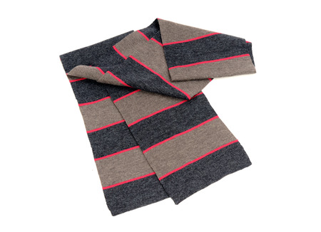 neckcloth: Striped grey and pink scarf for winter. Folded scarf isolated on white background. Stock Photo