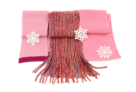 neckcloth: Three cute pink winter scarves with snowflakes. Wool scarves isolated on white background.