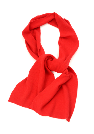 red scarf: Hers red scarf for winter. Red scarf isolated on white background.