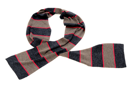neckcloth: Striped grey and pink scarf for winter. Scarf isolated on white background.