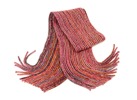 nicely: Pink winter scarf with fringe nicely arranged. Wool scarf isolated on white background. Stock Photo