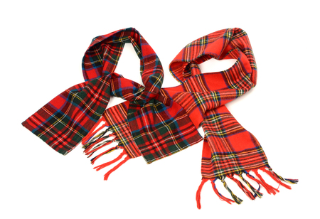 cuadros rojos: Tartan winter scarves with fringe. Different styles of red plaid scarves isolated on white background.