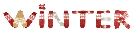 Winter writing made with accessories. Word winter with letters arranged with leg warmers and mittens isolated on white background. Stock Photo