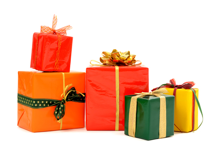 nicely: Pile of nicely wrapped presents. Christmas gifts isolated on white.