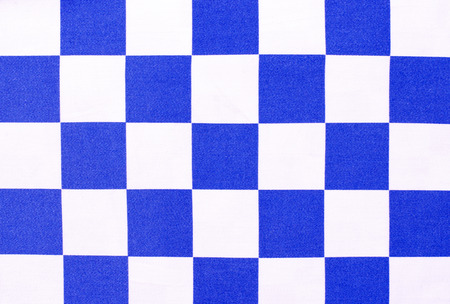 chequer: White and blue chequer background. Checker pattern on fabric. Stock Photo