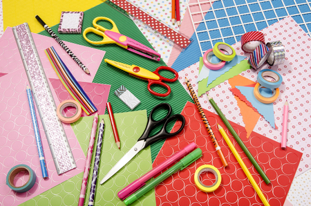craft supplies: Arts and craft supplies.  Color paper, pencils, different washi tapes, craft scissors. Stock Photo