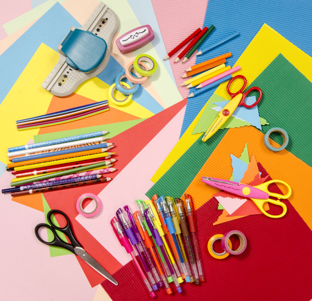craft supplies: Arts and craft supplies.  Corrugated color paper, pencils, different washi tapes, craft scissors.