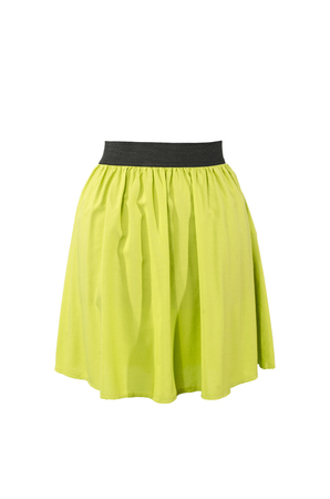 neon green: Summer neon green skirt isolated on white background. Short mini skirt with cut out on white.