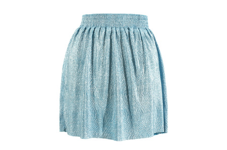 Blue sparkly skirt isolated on white background.Festive short skirt with elastic band cut out on white.