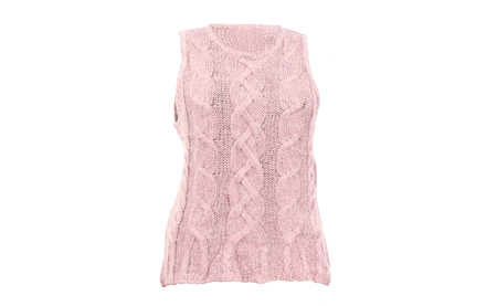Pink wool woman vest isolated on white background.Winter sleeveless woven blouse cut out on white.