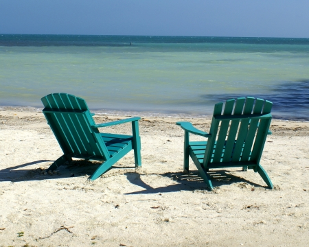 beach chairs: Beach in Belize