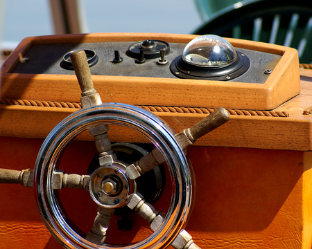 rentals: Boat steering wheel and console