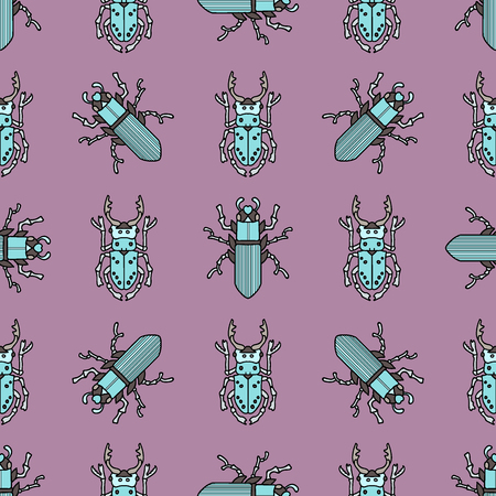 robot-beetles, maryls, insects. hand drawing seamless pattern
