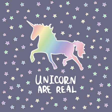 Colorful rainbow Unicorn. Stars Magical animal Poster Illustration
