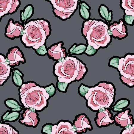 Rose flower on blue white strips pattern