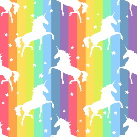 Colorful rainbow Unicorn. Magical animal rainbow Pattern Vectores