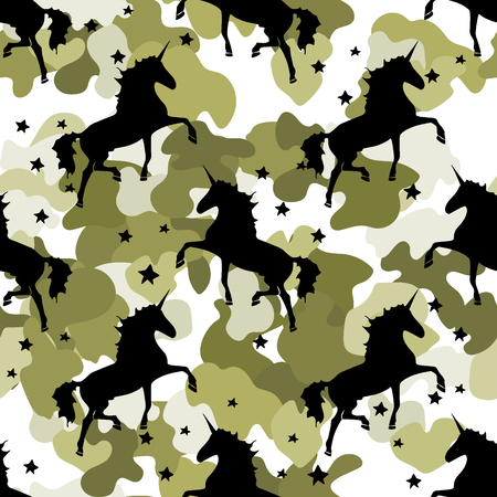 Colorful khaki Unicorn Stars. Magical animal Pattern Stock Illustratie