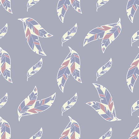 feather fluff or leaf simple hand drawn seamless pattern