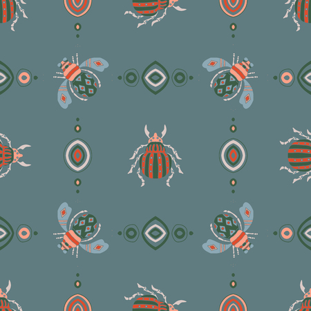 beetles, fly maryls, insects seamless pattern doodling